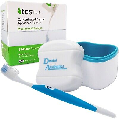TCS, Bath & Silicone Toothbrush ~ 24 Weekly Sachets, Flexible Dentures Cleaner