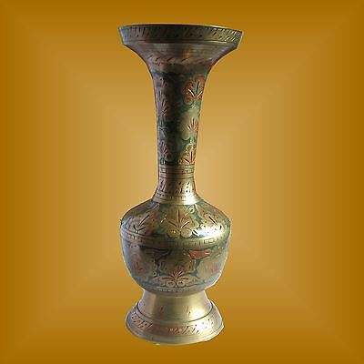 Dekorative Messingvase Pokal Indien India - orientalisches Design - Handarbeit