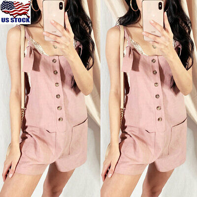 Womens Summer Cotton Linen Jumpsuit Rompers Strappy Dungarees Shorts Playsuit US