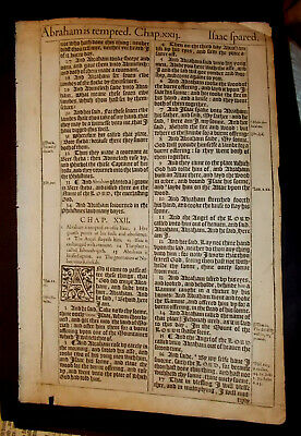 1611 King James Bible-1st Edition-Genesis 22+23-Isaac on the Altar-Spared-FOLIO!