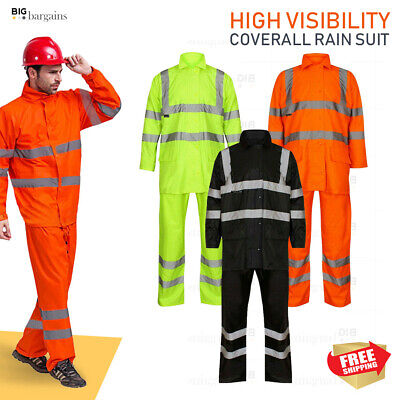 Hi Viz High Visibility Waterproof Rain Suit Jacket Trouser Hooded Security Ware
