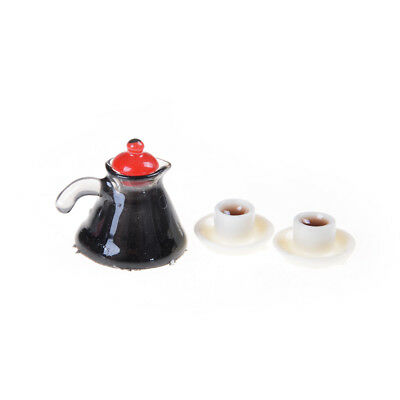 3Pcs Coffee Pot Cup and Saucer Set Dollhouse Miniature Home DecoDOFA