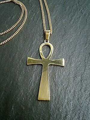 """Egyptian Ankh Cross Necklace Gold Stainless Steel Ancient Life Symbol 16""""-24"""" UK"""