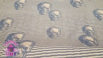"""Skull Stripe Brown Lightweight Poly Cotton Blend Fabric by the Yard 64"""" Wide"""