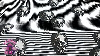 """Skull Stripe Blue Lightweight Poly Cotton Blend Fabric By the Yard  64"""" Wide"""
