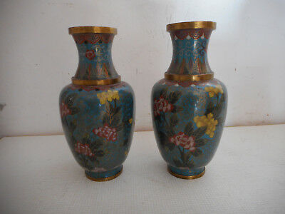 Pair of Vases in Enamels Cloisonnés.chine.xx No