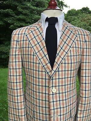 Vintage J Press Ivory Tattersall Plaid Cotton Sport Coat 38S