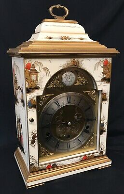 Stunning Musical Elliott London Gerrard Chinoiserie Three Train Clock Lacquered