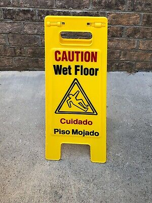 10 pc Various Yellow Caution Wet Floor Signs. English/Spanish