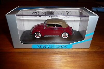 Minichamps VW Kafer 1200 Cabrio 1951/52 rot mit braunem Softtop in OVP
