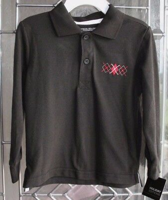 Boys Black Polo Shirt Long Sleeve Collar Size 3T NWT Holiday Editions Christmas