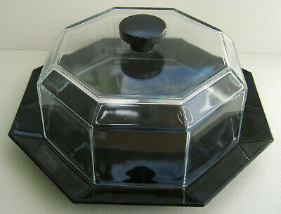 Vintage Black Octime Arcoroc Glassware Cake/Cheese Display Dish Dome Octagonal