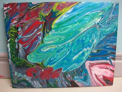 """Original Fluid Acrylic Pour Abstract Art Painting on 18"""" x 14"""" canvas"""