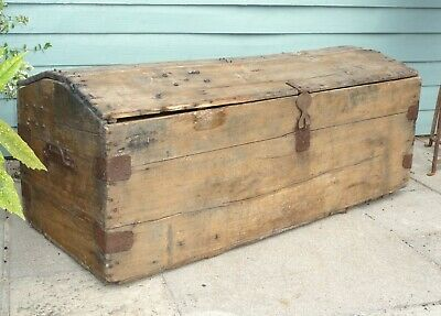 French Provincial Farmhouse Made Large Very Rustic Original Wooden Trunk Vintage