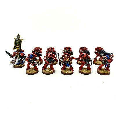 Warhammer 40K Space Marine Blood Angels Tactical Squad x 10 + Captain Librarian