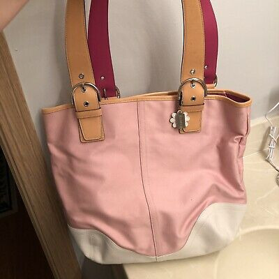 Coach Pink Canvas Tote with White Leather Accents and Daisy Charm - GUC