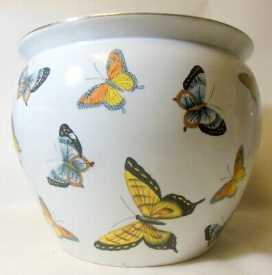 Large Vtg Chinese Porcelain Pot Jardiniere Bowl VASE PLANTER  BUTTERFLIES