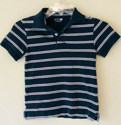 The Childrens Place Little Boy Short Sleeve Polo Shirt Blue Stripe Size XS 4