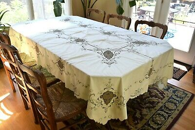 "Vintage Madeira Ivory Tablecloth w Tan Hand Embroider Cutwork Accent 100"" x 60"""
