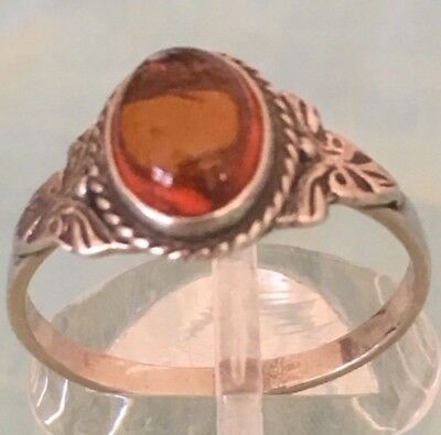 10MM 925 STER SILVER GENUINE BALTIC SEA OVAL CABOCHON BUTTERSCOTCH AMBER RING #2