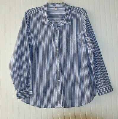 Women's 2X long sleeve shirt, blouse, blue with white stripes by Old Navy