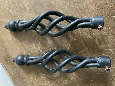 2 X Vintage Original Hand Forged Wrought Iron Cage And Ball Curtain Pole Finial