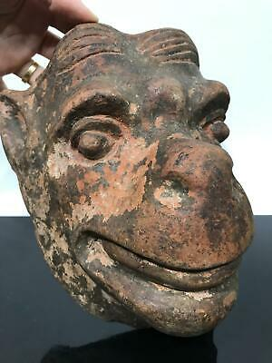 Antique Pre-Columbian ? Art Pottery Monkey Face Mask Artifact Figurine Sculpture