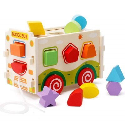 Lewo Wooden Shape Sorter Bus Classic Push Pull Truck Toy for Toddlers and Baby