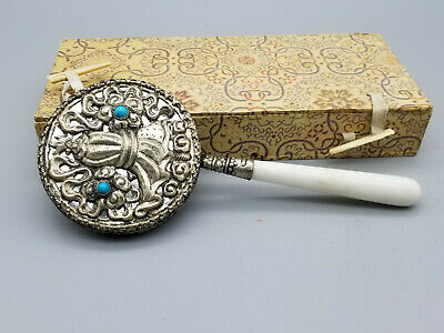 Vintage Chinese Silver plated Hand Mirror with Silver Base with encrusted stone.