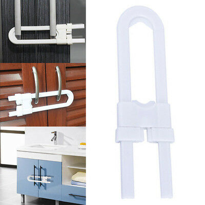 Baby Safety Lock U Shape Security For Cabinet Kids Cupboard Door Drawer White