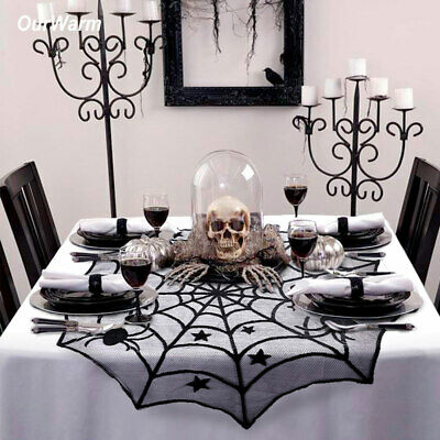 Black Lace Spider Web Halloween Tablecloth Round Table Topper Cover Home Decor