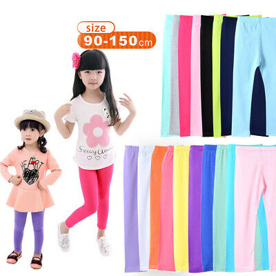 Stylish Baby Girls Cotton Leggings Kids Candy Color Slim Trousers Pants 2-13Y