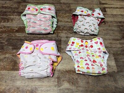 Goodmama rainbow girly lot birth to toddler cloth fitted diapers one size