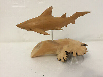 Wooden Tiger Shark Sculpture on Wooden Base used display