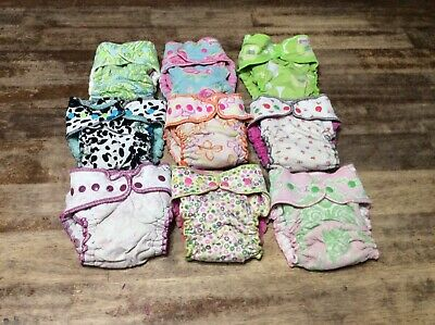 7 Goodmama floral girly lot birth to toddler cloth fitted diapers one size read