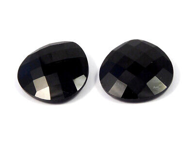 A++ 47 Cts. Natural Faceted Pair Of Black Hydro Cut Gemstone AAK527