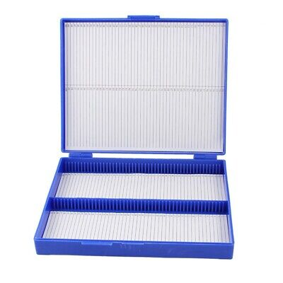 Royal Blue Plastic Rectangle Hold 100 Microslide Slide Microscope Box H8O6