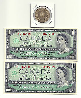 2 x 1967 CANADA CENTENNIAL ONE DOLLAR BANK NOTES (UNC/CON) and 1967 COIN
