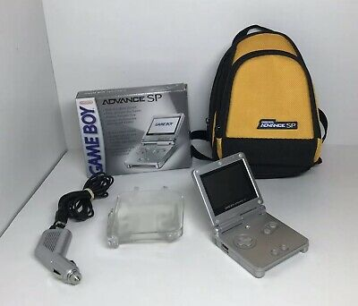 Nintendo Game Boy Advance SP Handheld Console Silver With Original Box And More
