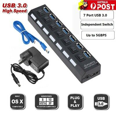 7 Port USB 3.0 HUB Powered + High Speed Splitter Extender PC AC Adapter Cable AU