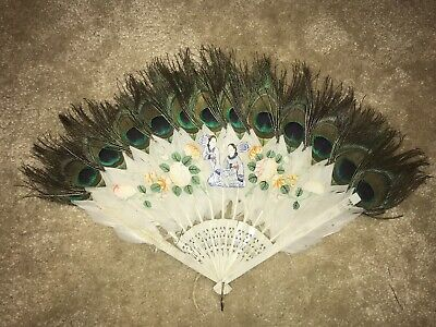 Hand painted 19th Century Folding Fan Made From Peacock Feather