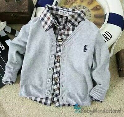 Children Boys Girls Grey Navy Pink Cardigan Cotton Jumper Sweater Size 1-7Years