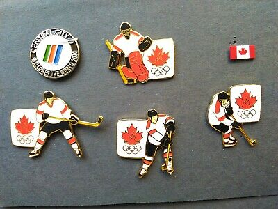 2010 Vancouver Olympic Games 6 Pin Lot Hockey Goalie Skaters Canada Central City