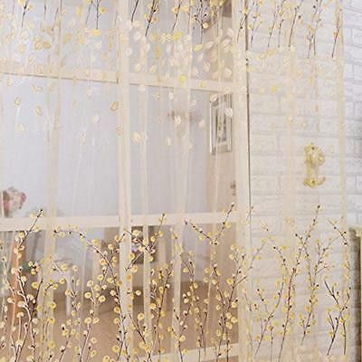 Modern Floral Tulle Voile Door Window Curtain Sheer Scarf Panel Drape Valance LI