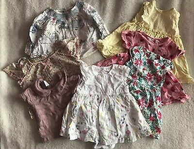 Lovely Bundle Of Baby Girls Clothes (dresses/tunics) Age 6-9 Months