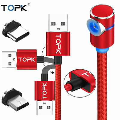 TOPK L Shape Magnetic Micro USB Charger Cable for Android Type-C Samsung Note10+