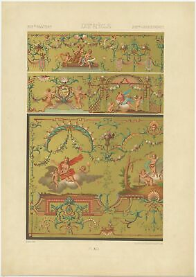 Pl. 91 Antique Print of decorative art in the 18th century by Rachinet (1869)