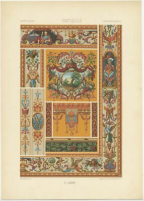 Pl. 89 Antique Print of decorative art in the 18th Century by Rachinet (1869)