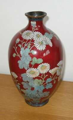 Chinese Cloisonne Ovoid Vase Blood Red Enamel Blossoming Flowers & Butterflies