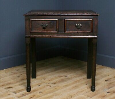 Attractive Small Antique Victorian Oak Lowboy Side Table With Drawers
